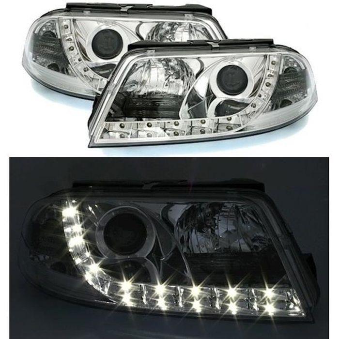 2 FEUX PHARE AVANT DEVIL EYES LED CHROME POUR VW PASSAT 3BG DE 11/2000 A 05/2005