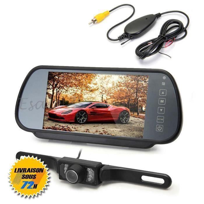 AZTEK®7 - LCD TFT Moniteur Rétroviseur Caméra de Recul Sans Fil pour Voiture Auto
