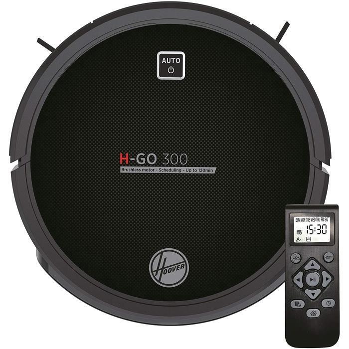 Hoover H-GO 300 -HGO310 Robot aspirateur, Batterie Lithium de 120 mins, Moteur Inverter, télécommande et Base de Charge, capteurs An