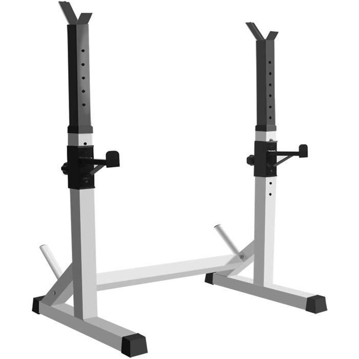BARRE HALTERE POIDS Multifonctionnel Rack Squat Poids Racks Barre,R&eacuteglable Barbell Support,Musculation Cage Repose Halt&e360