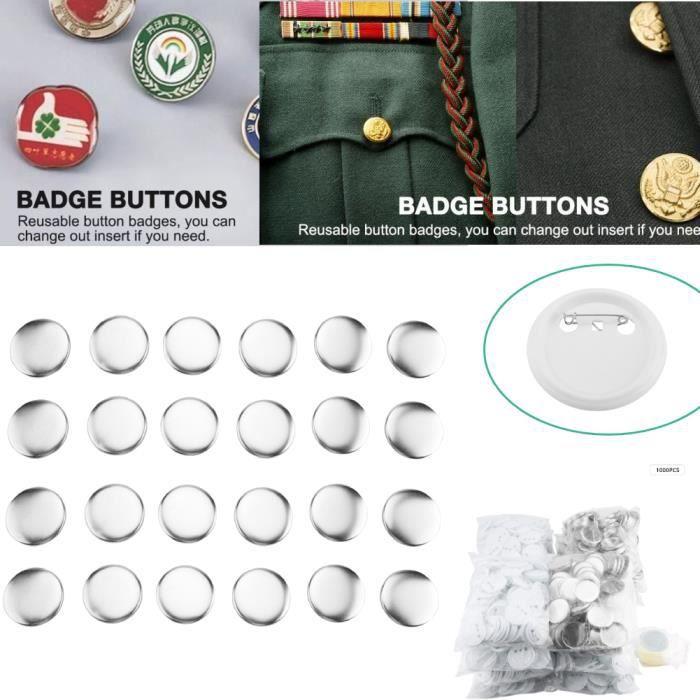 Bouton Badge Pin 1000 Pièces 58mm Pin Parts DIY Consommables facile à assembler pour Pro Maker Blanc