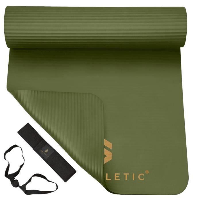 Tapis de gymnastique - CAPITAL SPORTS SUPERLETIC - 3 épaisseurs - Pour le fitness, le Pilates, le yoga - Vert olive