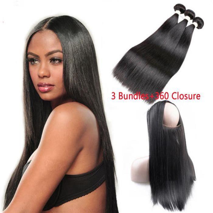 3 tissage bresilien avec 360 lace frontal closure cheveux humains 100% naturels 100g-p straight hiar 12 14 16+12pouces
