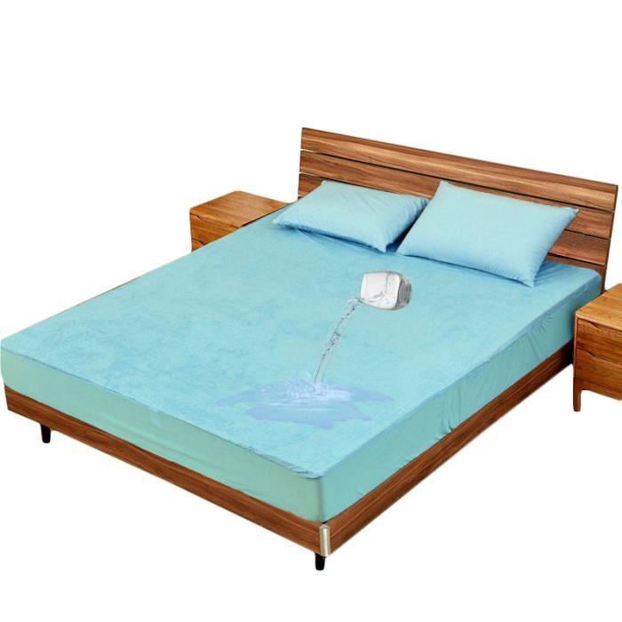 Drap Housse Couleur Unie 120 x 200 x 30 cm Imperméable Fibre de Bambou Bleu