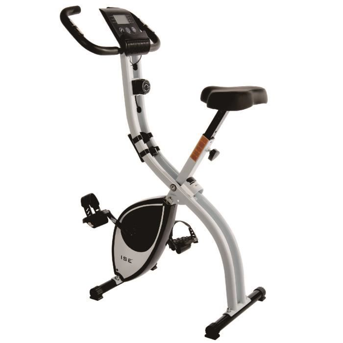 ISE Vélo d'appartement Vélo statique x-Bike Pliant - 3 kg de roue d'inertie -8 Niveaux de Resistance - Écran LCD SY-810L