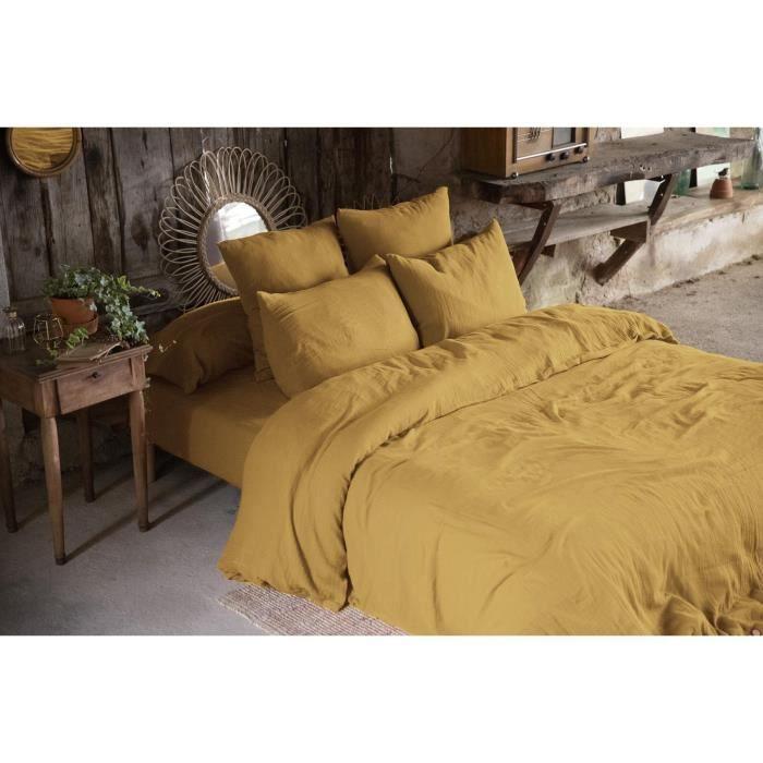 CDaffaires Pack double gaze de coton housse de couette 240 x 220 cm + 2 taies d'oreiller 60 x 60 jaune Jaune