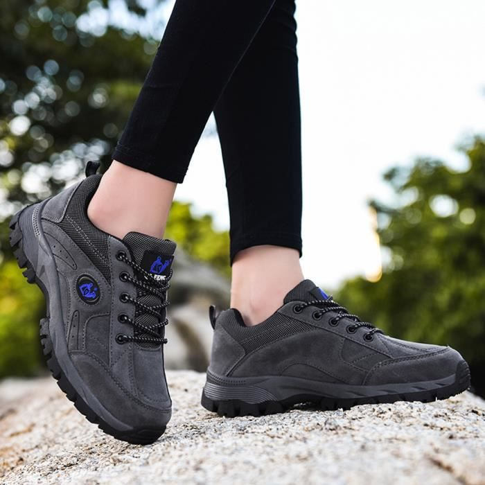 Chaussures de randonnée en plein air Chaussures de randonnée de grande taille et chaussures de randonnée en coton velours Gris