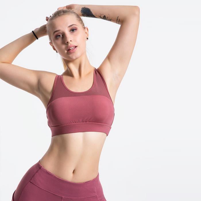 Brassiere De Sport femme - Brassiere De Sport 2 pièces taille haute simple - rouge ONE™