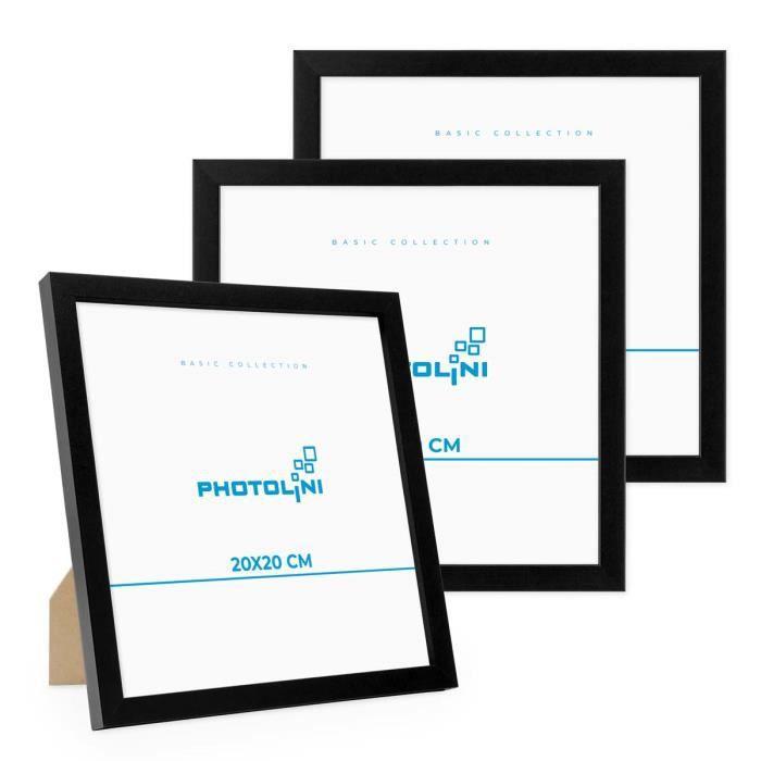PHOTOLINI Lot de 3 cadres 20x20 cm Moderne Noir en MDF avec vitre en acrylique