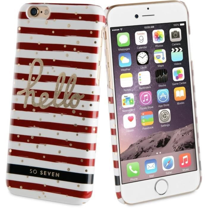 SO SEVEN Bundle BORD DE MER Coque+STYLO+CARNET-Rouge IPHONE 6/6S