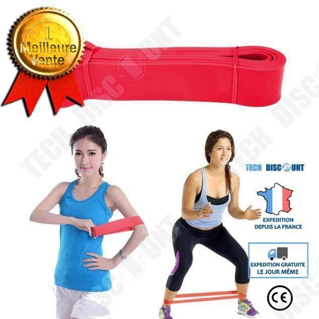 TD® Bande Élastique de Cross-fit -Harnais de résistance- Bande de latex Body gym Extenseur- Entraînement fitness Multifonction Rouge
