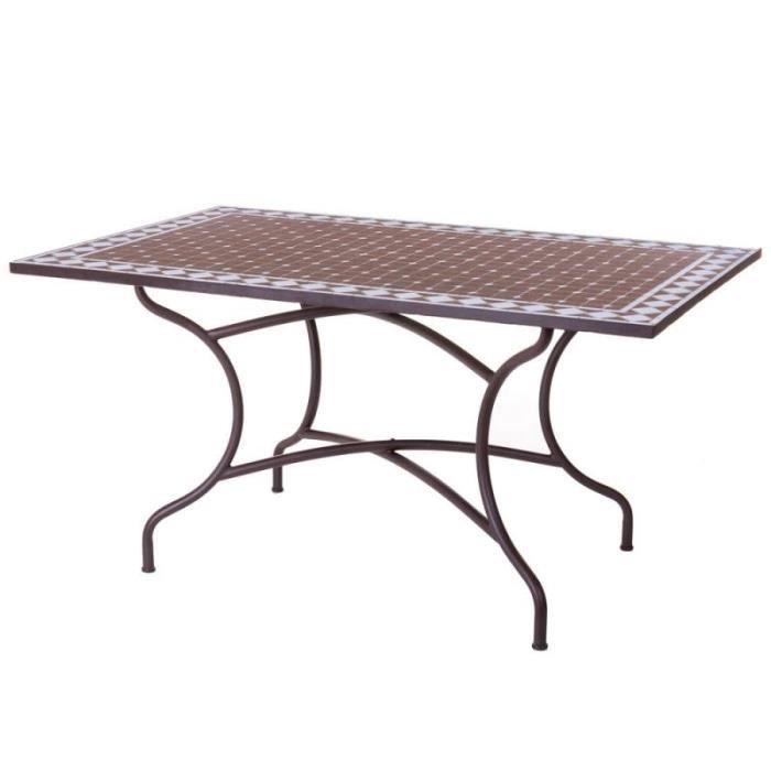 Table de repas Céramique mosaïque/Fer forgé - LOMBOK - L 150 x l 90 x H 75
