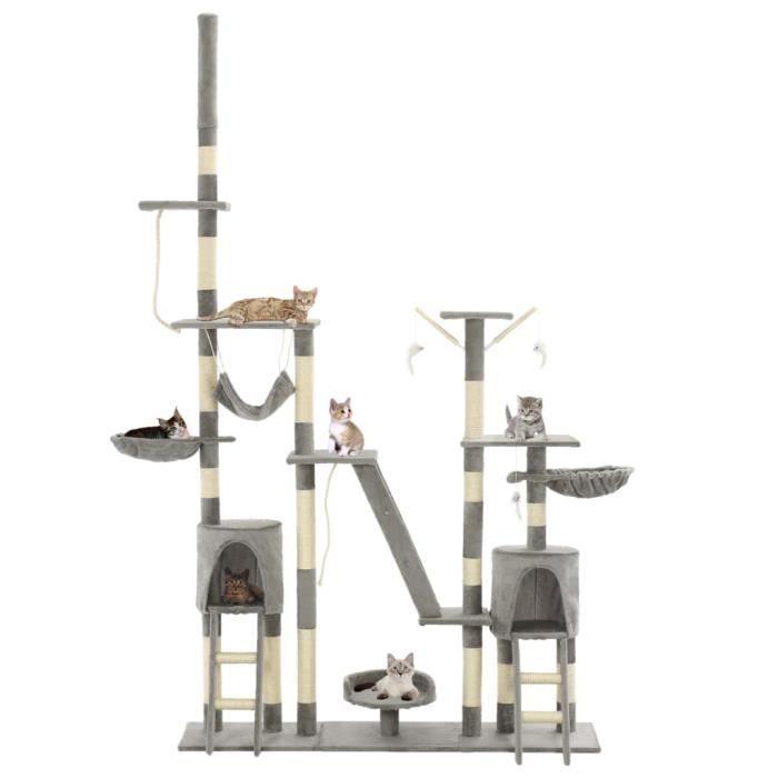 Arbre à chat avec griffoirs en sisal 230-250 cm Gris - Accessoires pour chats - Meubles pour chats - Gris - Gris