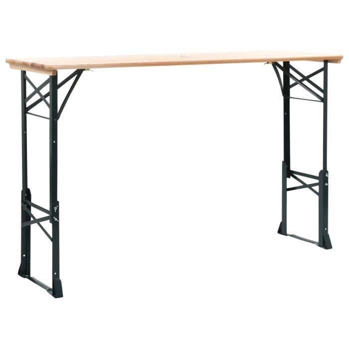 vidaXL Table de bière pliable 179x50x75 / 105 cm Pinède Table de jardin terrasse