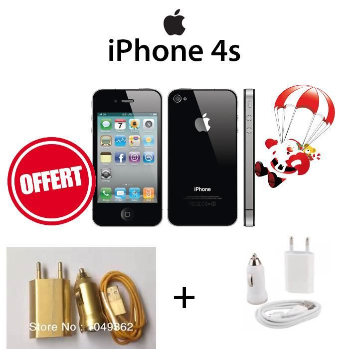 apple iphone 4s 8go noir pack chargeurs achat smartphone. Black Bedroom Furniture Sets. Home Design Ideas