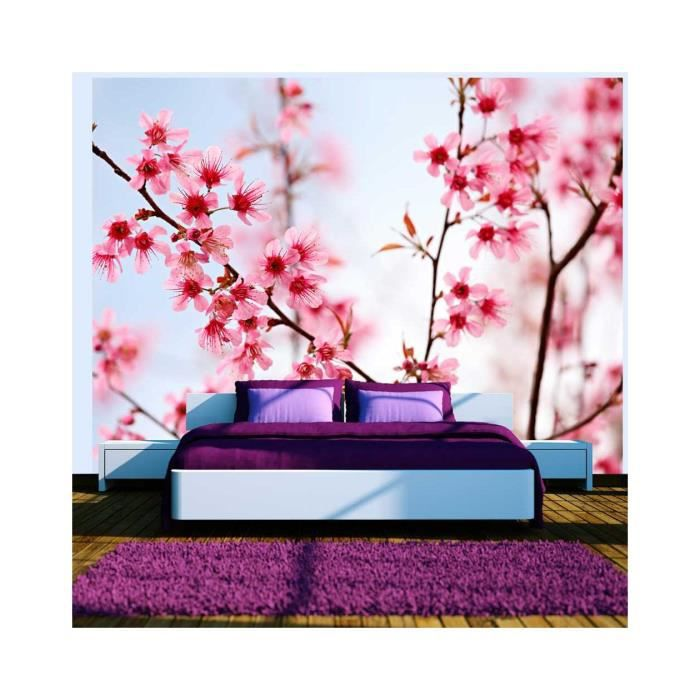 papier peint symbole japonais fleurs de cerisier sakura dimension 200x154 achat vente. Black Bedroom Furniture Sets. Home Design Ideas