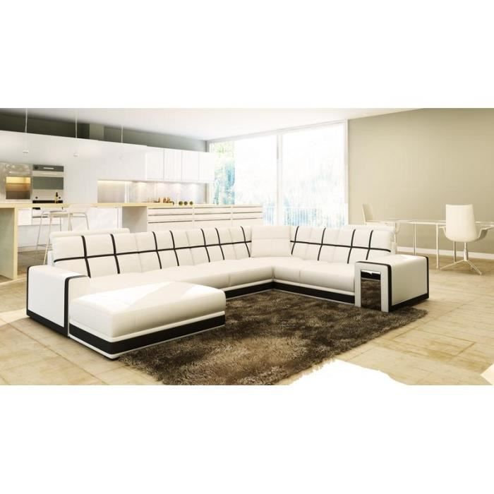 canap d 39 angle panoramique cuir blanc noir design achat vente canap sofa divan cuir. Black Bedroom Furniture Sets. Home Design Ideas