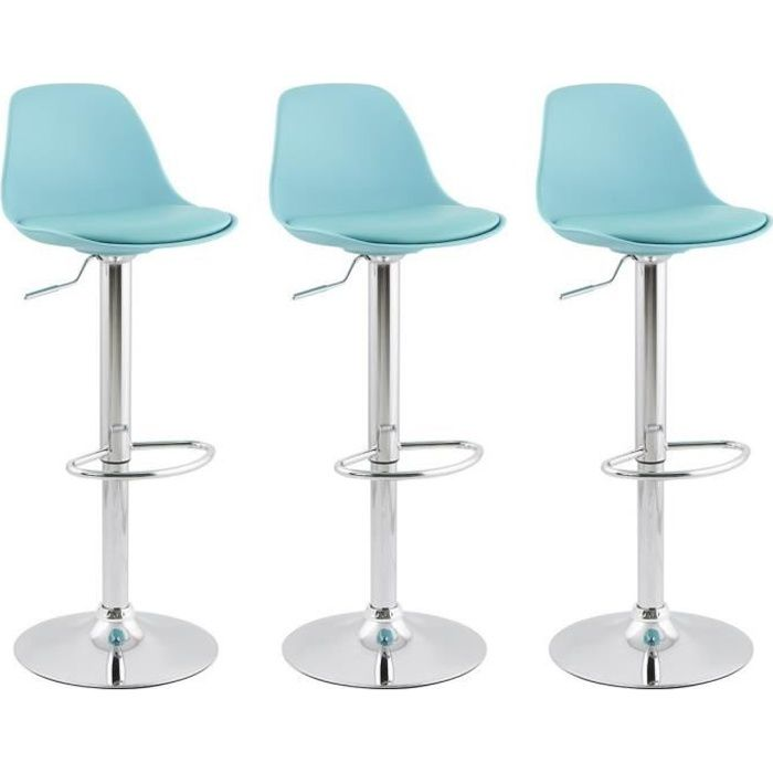 ho lot de 3 tabouret de bar bleu avec dossier achat. Black Bedroom Furniture Sets. Home Design Ideas