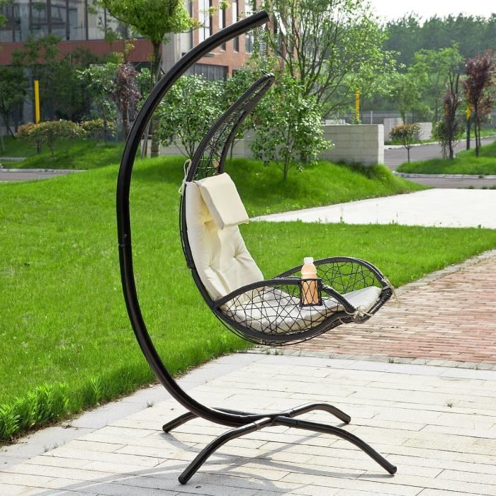 fauteuil suspendu balancelle de jardin et patio hamac avec support sur pied et porte gobelet. Black Bedroom Furniture Sets. Home Design Ideas