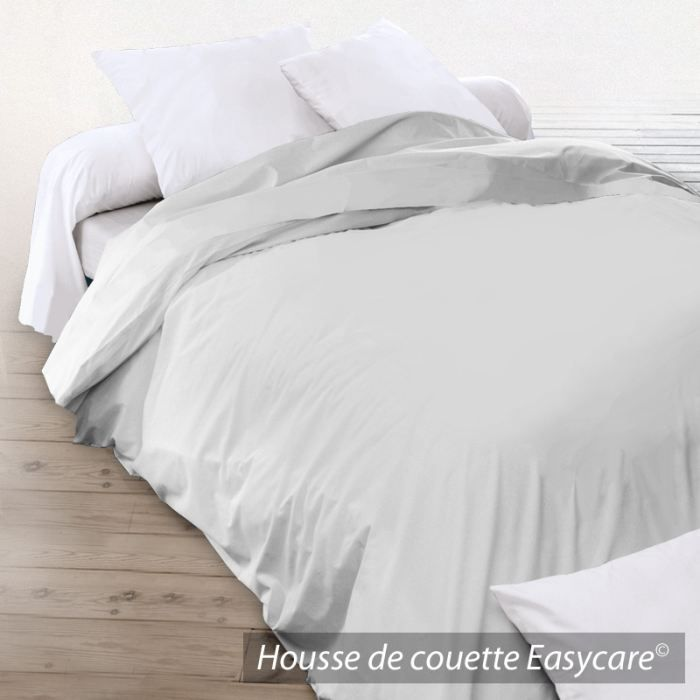 housse de couette coton 200x200 gris clair achat vente. Black Bedroom Furniture Sets. Home Design Ideas