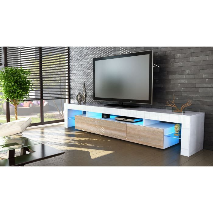 meuble tv 199x35x38 laqu blanc bois brut option l achat vente meuble tv meuble tv 199x35x38. Black Bedroom Furniture Sets. Home Design Ideas