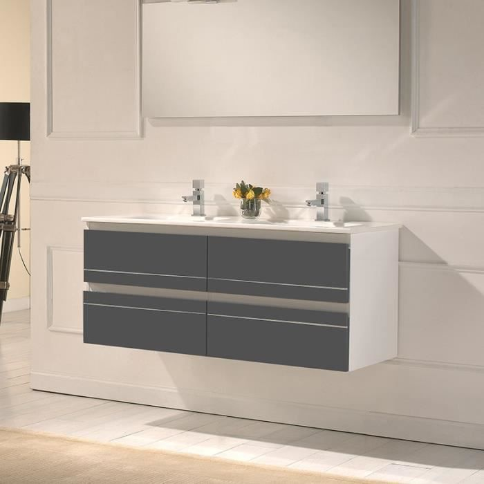 meuble de salle de bain double vasque 120 cm ritz gris fonc grise achat vente meuble. Black Bedroom Furniture Sets. Home Design Ideas