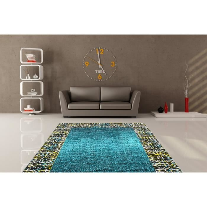 deladeco tapis turquoise de salon en polypropyl ne tello 80x150cm turquoise achat. Black Bedroom Furniture Sets. Home Design Ideas