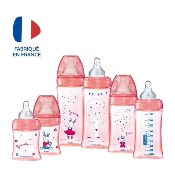 150 ml Dodie D/ébit 1 T/étine ronde Biberon Anti-Colique Initiation+ Rose Poup/ée 066 mois