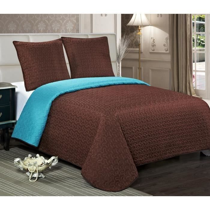 couvre lit chocolat turquoise Boutis Stella Bicolore 2 Places Chocolat/Turquoise   Achat / Vente  couvre lit chocolat turquoise