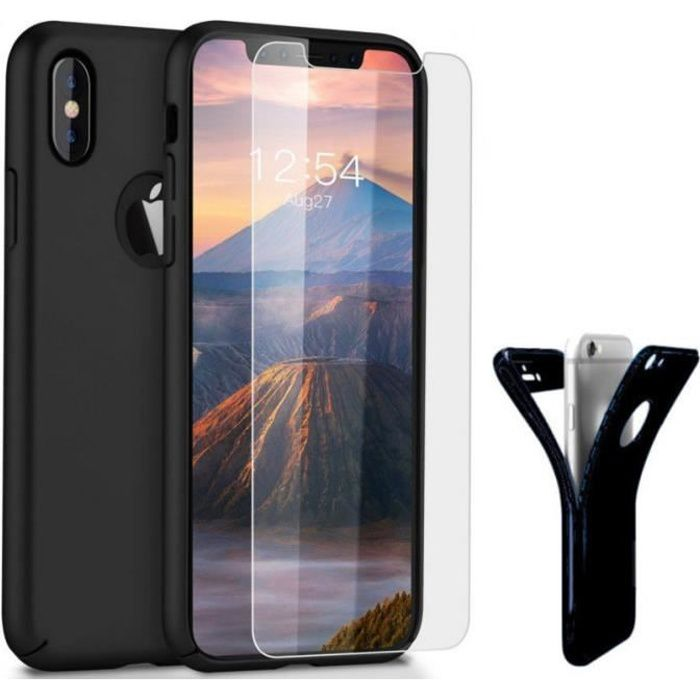 coque integrale iphone x noir silicone verre tre