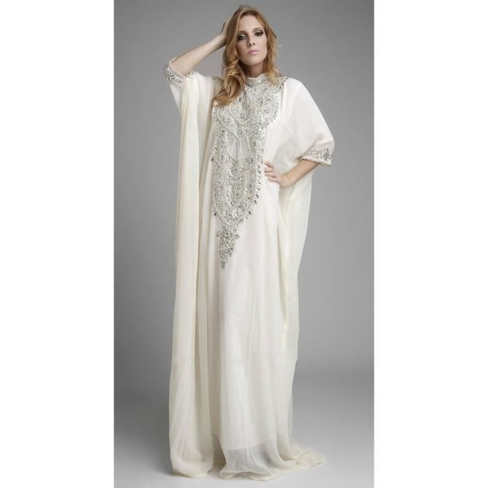 robe de soir e caftan kaftan longue blanche col haut avec manche dubai tunique strass luxueux. Black Bedroom Furniture Sets. Home Design Ideas