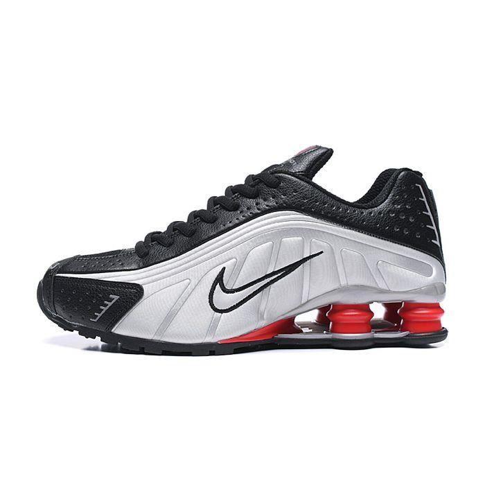 Nike Shox R4 Chaussures de course - Homme - Noir-Argent-Rouge ...