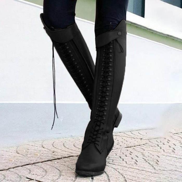 Nouveau Femme arrondis hautes à bout en fourrure synthétique Long Noir Femme Bottes Tailles UK 3-8