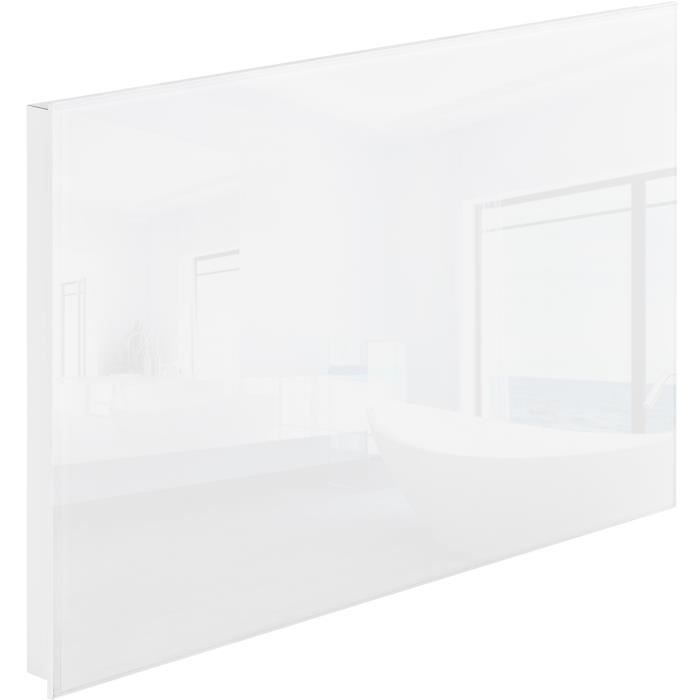 chauffage lectrique mural rayonnant infrarouge en verre 620 mm x 420 mm 300w tectake blanc. Black Bedroom Furniture Sets. Home Design Ideas