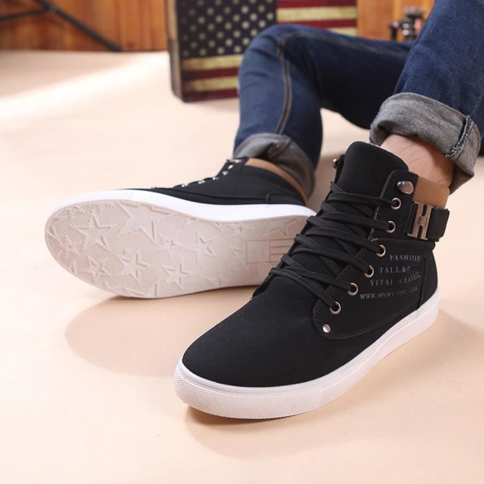WE147 Chaussures Haut Chaussures Sneakers Mode Oxfords Hommes Casual Chaussures BKNoir Haut Av8Oq