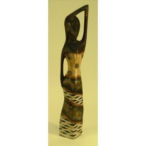 STATUE - STATUETTE Statue de femme en bois brun  robe décor colonial