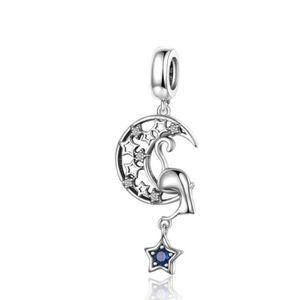 Curieux Chat Perle .925 Sterling Silver Charm Fit Noël Bracelet//Collier Chaîne