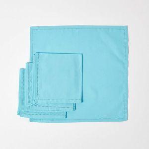 SERVIETTE DE TABLE Lot de 4 serviettes de table 100% coton  Bleu