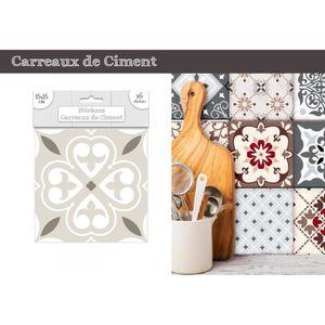 STICKERS Lot de 6 Stickers Carreaux de Ciment – Greige Moti