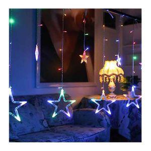 BANDEROLE - BANNIÈRE STOEX® Rideau Lumineux Noël 12PCS Étoiles LED Colo