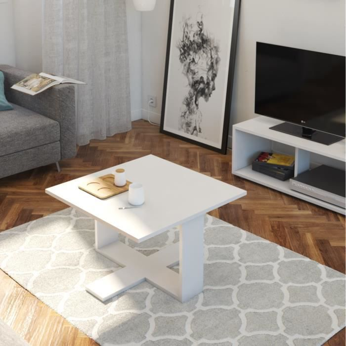 BOOM Table basse carrée style contemporain blanc mat - L 60 x l 60 cm