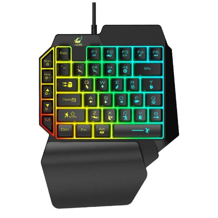 T15 Wired Gaming clavier avec rétro éclairage Led 39 Touches d'une seule main clavier à Membrane_Q`4584_Mp4584
