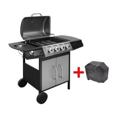 Gril d'extérieur Barbecue à gaz 4 + 1 zone de cuisson Électroménager de cuisine Noir+Argenté