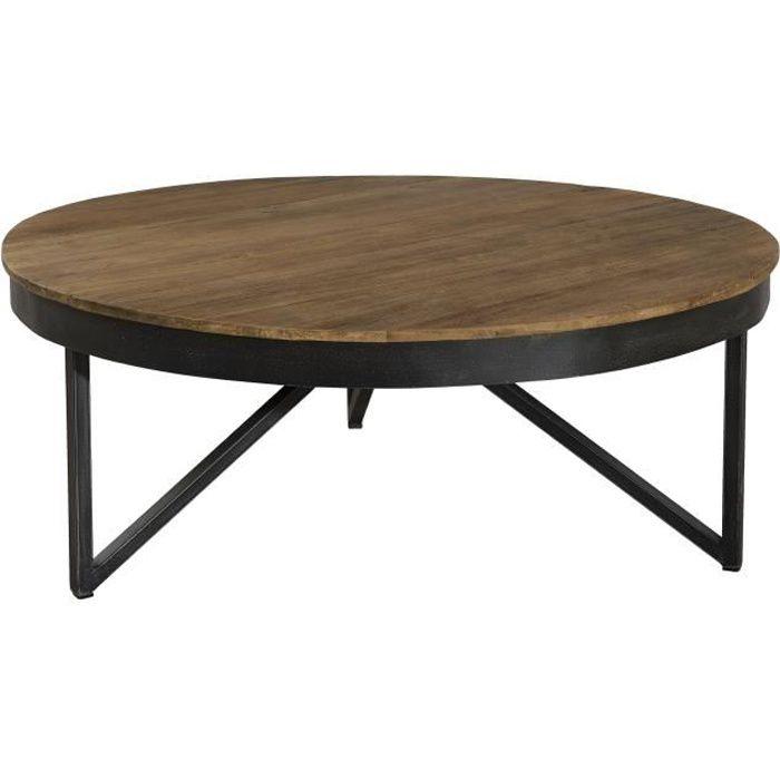 Table basse ronde - En bois teck + pieds en métal - Marron naturel - Style industriel - Sur pieds - Ø 90 cm