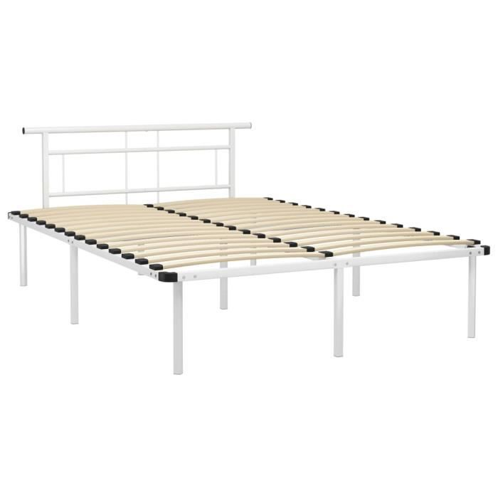 Jardin - Lit adulte Décor - Cadre de lit - Lit Adulte pour 2 personnes Blanc Métal 140x200 cm Style ancien 59359
