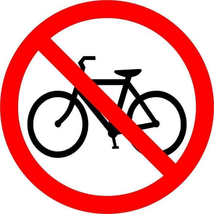 Autocollant sticker vélo interdit panneau parking magasin