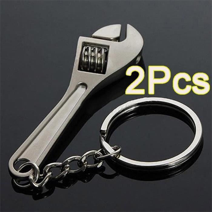 2pcs clé à molette porte-clés clé anneau porte-clés en métal Outil de création de porte-clés Merci8307