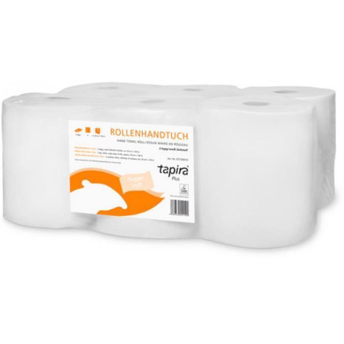 Tapira Rouleau d'essuie-mains Plus, 2 plis, 140 m, blanc 0,000000 Noir