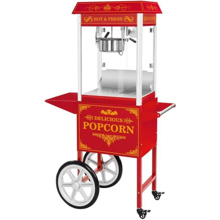 Royal Catering Machine À Pop Corn Professionnelle Appareil Popcorn Pop-Corn Professionnel Avec Chariot RCPW.16.3 (1600W, 5kg-h,35