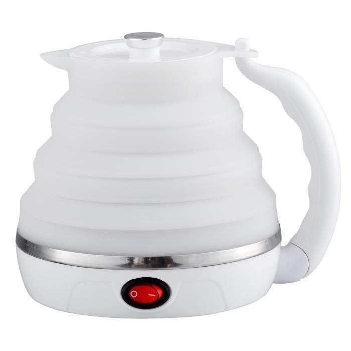 Bouilloire électrique Pliable de Voyage, Bouillir Protection à sec Bouilloire d'eau Portable Double Tension, ébullition Rapide 0.6L